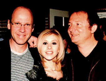 Steve Kipner (right) with Christina Aguilera and David Frank.