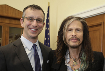 March 24, 2014 WASHINGTON DC - Steven Tyler of Aerosmith met with Congressman Robert Goodlatte, R-VA, and David Israelite (NMPA CEO) regarding illegal use of intellectual property of singers and songwriters.  (Photo by Susan Biddle)