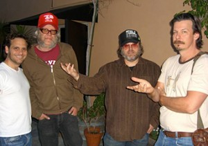 "Pictured (l-r): Ralph Sall, Ric Menck, Matthew Sweet and director Andrew Fleming working on the song ""Come To California"" for the Nancy Drew soundtrack."