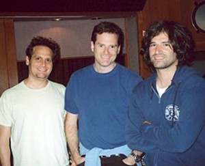 "Pictured (l-r): Ralph Sall, director Mark Waters & Pete Yorn in the studio for the session of ""Just My Imagination"" for Just Like Heaven 2."