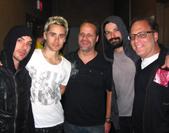 Shannon Leto, Jared Leto, Richard Iwaniuk of EA, Tomo Milicevic, and Steve Schnur of EA.
