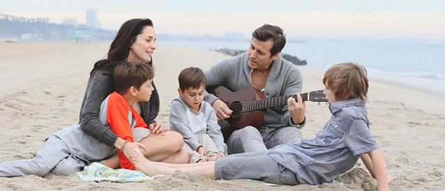 Chantal Kreviazuk with her husband Raine Maida and their three sons.