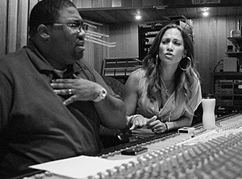 Cory Rooney with Jennifer Lopez in the studio.