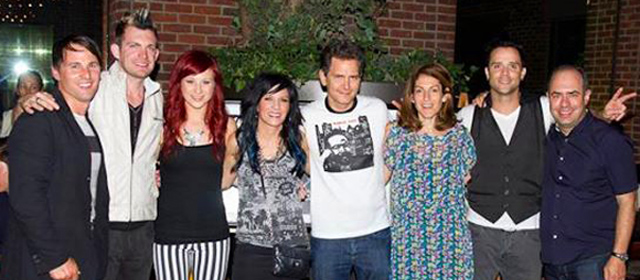 Pete Ganbarg with the band Skillet and execs from Atlantic Records