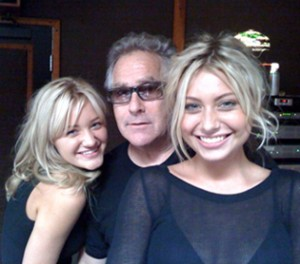 Jon Lind with Aly & AJ, who were the first teen pop artists who Lind worked with at Hollywood Records.