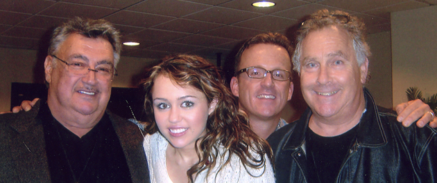 Pictured (l-r): Bob Cavallo (Chairman, Disney Music Group), Miley Cyrus, Chip McLean and Jon Lind.