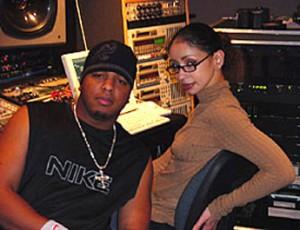 Tricky Stewart with Mya in the studio.