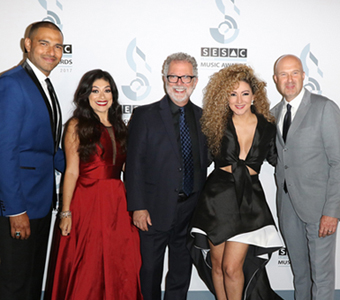 At the 2017 SESAC Latina Music Awards in Beverly Hills, CA: SESAC's Eliezer Ponce, Celeste Zendejas, Dennis Lord, singer-songwriter Erika Ender, and Sam Kling.